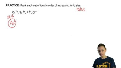 Rank each set of ions in order of increasing ionic size.  Cr7+, Sc3+, P3–, Cl–...