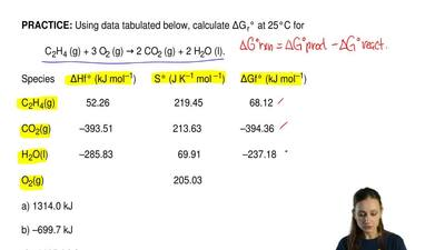 Using data tabulated below, calculate ΔG r° at 25°C for  C2H4 (g) + 3 O2 (g) →...