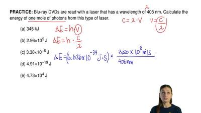 Blu-ray DVDs are read with a laser that has a wavelength of 405 nm. Calculate ...