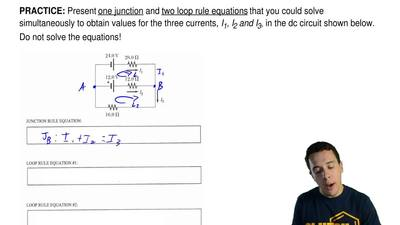 Present one junction and two loop rule equations that you could solve simultan...