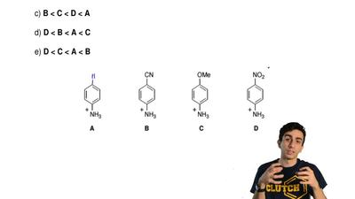Put these compounds in order of  increasing acidity.  a) A < C < B < ...