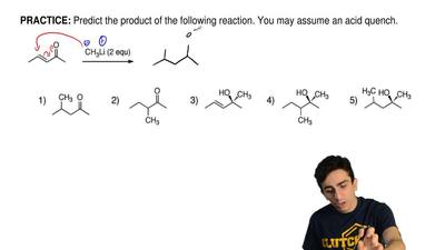 Predict the product of the following reaction. You may assume an acid quench. ...