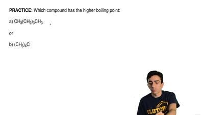 Which compound has the higher boiling point:  a) CH3(CH2)3CH3  or  b) (CH3)4C ...
