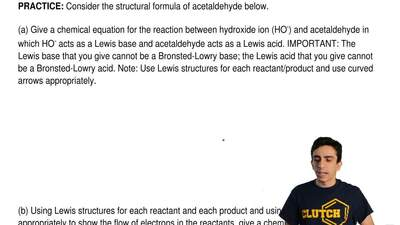 Consider the structural formula of acetaldehyde below.  (a) Give a chemical eq...