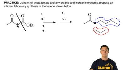 Using ethyl acetoacetate and any organic and inorganic reagents, propose an ef...