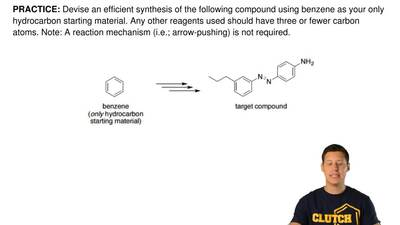 Devise an efficient synthesis of the following compound using benzene as your ...