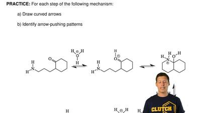 For each step of the following mechanism:  a) Draw curved arrows  b) Identify ...