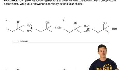 Compare the following reactions and decide which reaction in each group would ...