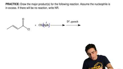 Draw the major product(s) for the following reaction. Assume the nucleophile i...