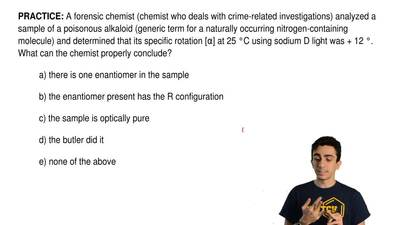 A forensic chemist (chemist who deals with crime-related investigations) analy...