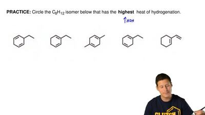 Circle the C8H12 isomer below that has the highest heat of hydrogenation. ...