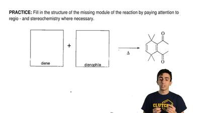 Fill in the structure of the missing module of the reaction by paying attentio...