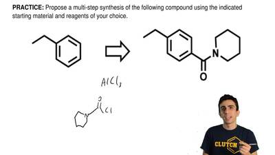 Propose a multi-step synthesis of the following compound using the indicated s...