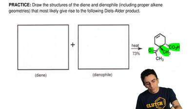 Draw the structures of the diene and dienophile (including proper alkene geome...