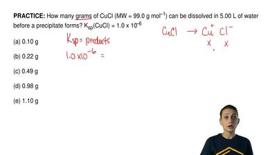 How many grams of CuCl (MW = 99.0 g mol –1) can be dissolved in 5.00 L of wate...