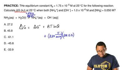 THe equilibrium constant Kb = 1.75 x 10-5 M at 25°C for the following reactio...