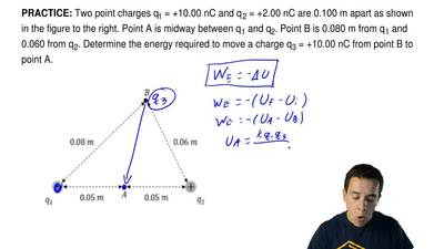 Two point charges q1 = +10.00 nC and q 2 = +2.00 nC are 0.100 m apart as shown...