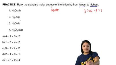Rank the standard molar entropy of the following from lowest to highest.  1. H...