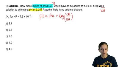 How many moles of solid NaF would have to be added to 1.0 L of 1.90 M HF sol...