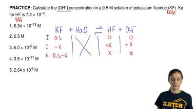 Calculate the [OH−] concentration in a 0.5 M solution of potassium fluoride (K...