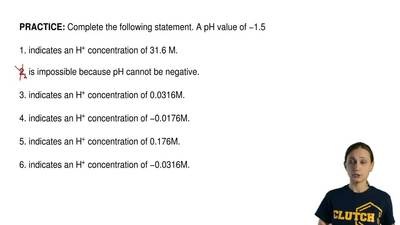 Complete the following statement. A pH value of −1.5  1. indicates an H+ conce...