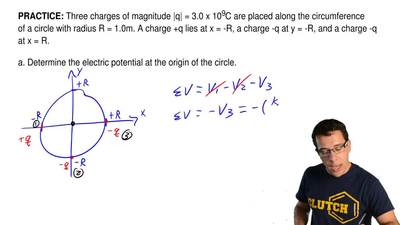 Three charges of magnitude |q| = 3.0 x 10-9C are placed along the circumferenc...
