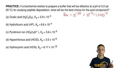 If a biochemist wishes to prepare a buffer that will be effective at a pH of 3...