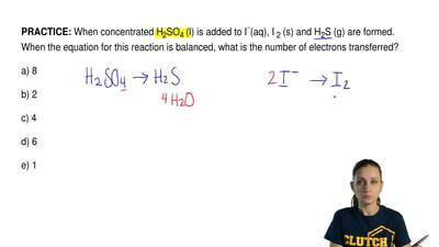 When concentrated H2SO4(l) is added to I-(aq), I2(s) and H2S (g) are form...
