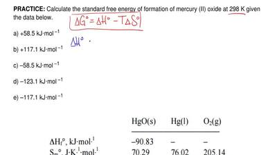 Calculate the standard free energy of formation of mercury (II) oxide at 298 K...