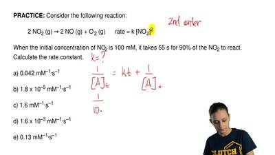 Consider the following reaction:  2 NO2 (g) → 2 NO (g) + O 2 (g)      rate = k...