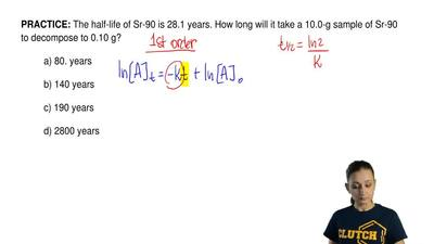 The half-life of Sr-90 is 28.1 years. How long will it take a 10.0-g sample of...