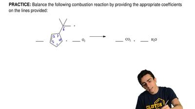 Balance the following combustion reaction by providing the appropriate coeffic...