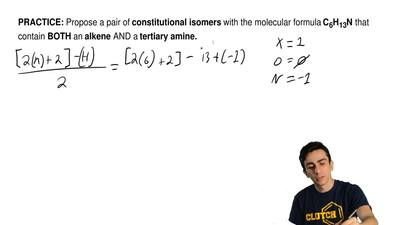 Propose a pair of constitutional isomers with the molecular formula C6H13N tha...