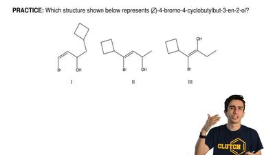 Which structure shown below represents (Z)-4-bromo-4-cyclobutylbut-3-en-2-ol? ...