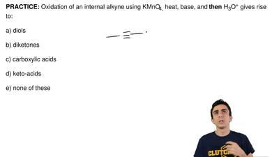 Oxidation of an internalalkyne using KMnO4,heat, base, and then H3O+ gives r...
