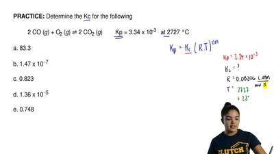 Determine the Kc for the following  2 CO (g) + O2 (g)⇌2 CO2 (g)    Kp = ...