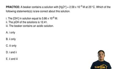 A beaker contains a solution with [H3O+] = 2.59 x 10-2 M at 25°C. Which of th...