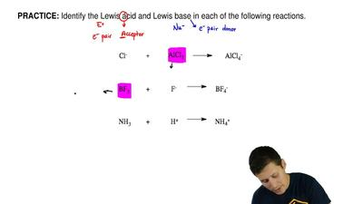Identify the Lewis acid and Lewis base in each of the following reactions.    ...
