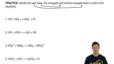 Identify the acid, base, the conjugate acid and the conjugate base in each of ...