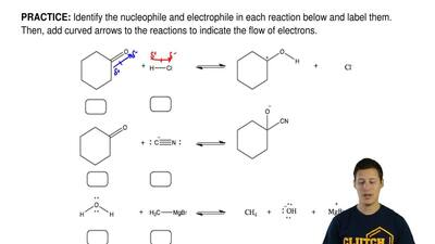 Identify the nucleophile and electrophile in each reaction below and label the...