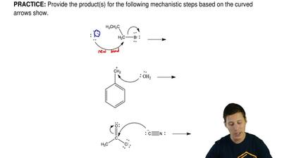 Provide the product(s) for the following mechanistic steps based on the curved...