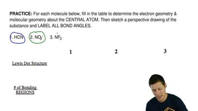 For each molecule below, fill in the table to determine the electron geometry ...