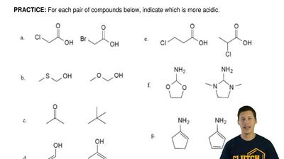For each pair of compounds below, indicate which is more acidic. ...