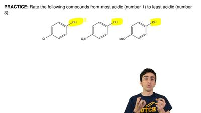 Rate the following compounds from most acidic (number 1) to least acidic (numb...
