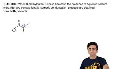 When 3-methylbutan-2-one is heated in the presence of aqueous sodium hydroxide...