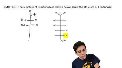 The structure of D-mannose is shown below. Draw the structure of L-mannose.  ...