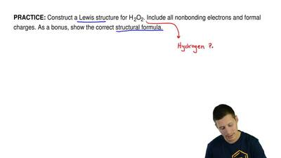 Construct a Lewis structure for H2O2. Include all nonbonding electrons and for...