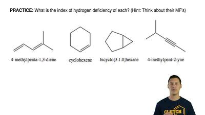 What is the index of hydrogen deficiency of each? (Hint: Think about their MF'...
