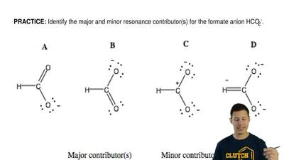 Identify the major and minor resonance contributor(s) for the formate ion HCO2...
