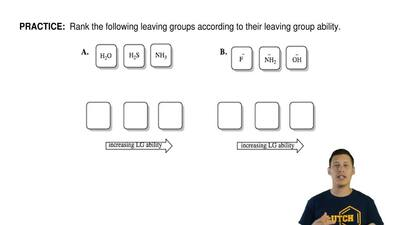 Rank the following leaving groups according to their leaving group ability.  ...